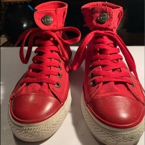 Levi Strauss Womens Red High Top Lace Up Shoes